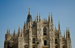 Milan Cathedral. View of Milan Cathedral (Duomo di Milano), Lombardy, Italy, fourth-largest church in the world, made of Candoglia marble stock photo