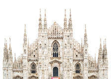 Milan Cathedral Dome facade isolated white. Italy Royalty Free Stock Images