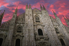 Milan cathedral dome - Italy. Milan cathedral dome at sunset with clouds. Italy Stock Photography