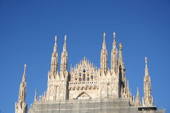 Milan Cathedral (Dome in Milan). Shoot of frontal top of Milan Cathedral (Dome in Milan Stock Images
