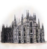 The Milan cathedral Dome watercolor hand drawing, arhitectural buillding isolated Stock Images