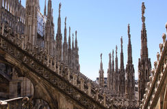 Milan Cathedral (Duomo di Milano) arches, pillars and statues details Stock Images