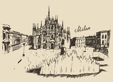 Milan Cathedral Duomo di Milano Italy hand drawn Royalty Free Stock Photography