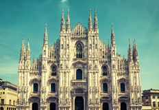 Milan Cathedral Duomo di Milano, Italy. Milan Cathedral is the fifth largest in the world. Milan Cathedral in the sunlight. The luxury facade of Milan Royalty Free Stock Photo
