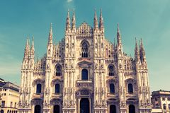Milan Cathedral Duomo di Milano, Italy. Milan Cathedral is the fifth largest in the world. Milan Cathedral in the sunlight. The luxury facade of Milan Royalty Free Stock Photography