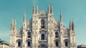 Milan Cathedral Duomo di Milano, Italy. Milan Cathedral is the fifth largest in the world. Panoramic view of Milan Cathedral in the sunlight. The luxury facade Stock Image