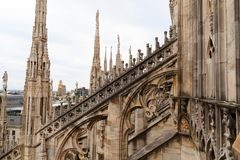 Milan Cathedral, Duomo di Milano, view. Famous Italian landmark. Gothic architecture Stock Photography