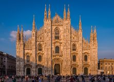 Milan Cathedral in the evening stock photography