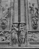 Milan Cathedral facade. Particular of the Milan Cathedral in black and white stock image