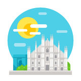 Milan cathedral flat design landmark Stock Photos