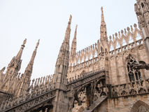 Milan Cathedral Flying Buttresses, Milan, Italy. Architectural Close Up Detail of Flying Buttresses as part of Italian Gothic Architecture of Milan Cathedral Royalty Free Stock Images