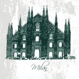 Milan Cathedral. Gothic architecture. Vector Stock Photo