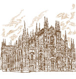Milan cathedral hand draw Stock Image