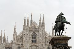 Milan Cathedral and Horseman Statue Royalty Free Stock Photos