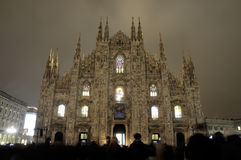 Milan Cathedral illuminated from the inside Stock Photos