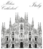 Milan Cathedral in Italy. Famous Milan Cathedral in black color on piazza in Milan, Italy. Graphic hand drawing illustration. Vector isolated on a white Royalty Free Stock Image