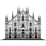 Milan cathedral, Italy. Vector illustration on the Milan cathedral Duomo di Milano, Italy, isolated in white Royalty Free Stock Photo