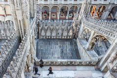 Milan cathedral marble from above Stock Images