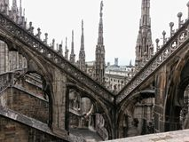 On the Milan Cathedral. Metropolitan Cathedral Basilica of the Nativity of the Blessed Virgin Mary. It is the largest church in Italy, the fourth in the world by Royalty Free Stock Photos