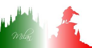 Milan Cathedral mit Statue von Vittorio Emanuele II Lizenzfreie Stockfotos