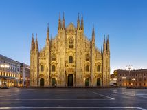 Milan. Cathedral of the Nativity of the Virgin Mary at dawn. Royalty Free Stock Photo