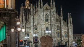 Milan Cathedral night timelapse Duomo di Milano is the gothic cathedral church of Milan, Italy. Milan Cathedral illuminated at night timelapse Duomo di Milano stock footage