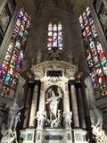 Milan Cathedral Panoramic Apse Italien Royaltyfria Foton