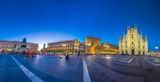 Milan Cathedral, Piazza Del Duomo nachts, Italien Lizenzfreie Stockfotografie