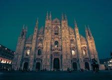 Milan Cathedral, Piazza Duomo alla notte, Milano, Lombardia, Italia Fotografia Stock
