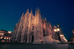 Milan Cathedral, Piazza Duomo bij nacht, Milaan, Lombardije, Italië Stock Fotografie