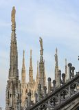 Milan Cathedral roof statues. Milan Duomo rooftop statues, Milan, Lombardia, Italy stock image