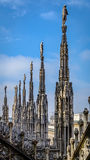 Milan Cathedral Spires under blue sky Royalty Free Stock Photography