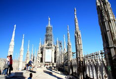 Milan Cathedral Top. A view of the Milan Duomo rooftop Royalty Free Stock Image