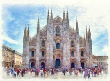 Duomo di Milano cathedral watercolor painting Royalty Free Stock Images
