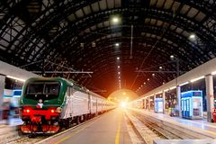 Milan Central railway station. Milan Central Station in Italian, Stazione Centrale di Milano or Milano Centrale is one of the main. European railway stations Royalty Free Stock Photo