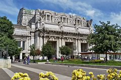 Milan Central railway station in Milan, Italy.  Royalty Free Stock Images