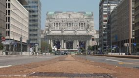 Milan central station front view from broad avenue, ground level.  stock footage
