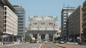 Milan central station front view from broad avenue.  stock footage