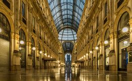 Milan city center galleria vittorio emanuele royalty free stock photography