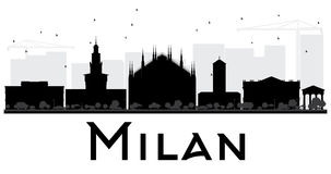 Milan City skyline black and white silhouette. Vector illustration. Simple flat concept for tourism presentation, banner, placard or web site. Business travel Royalty Free Stock Photo