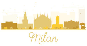 Milan City skyline golden silhouette. Stock Images