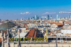 Milan city skyline photo taken from Cathedral-Basilica of the Nativity of Saint Mary, Italy stock photo