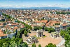 Milan cityscape, Italien Fotografering för Bildbyråer