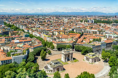 Milan cityscape, Italy. Cityscape of Milan - aerial view from the Branca Tower Torre Branca of the Sempione square Piazza Sempione, with the Arch of Peace Arco Stock Image