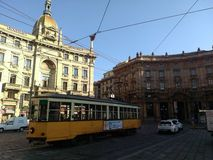 Milan cityscape with tram Italy stock photos