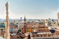 Milan cityscape view from Duomo cathedral in the morning. royalty free stock images