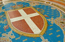 Milan Coat of Arms. Mosaic on the floor of Galleria Vittorio Emanuele depicting Milan's coat of arms, Italy Stock Images