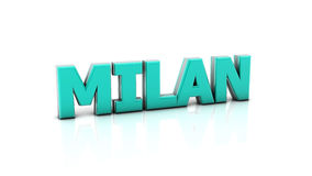 Milan in 3d. Word milan in blue in 3d on white background Stock Images