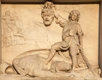 Milan - Daniel and Goliath - Dom facade Stock Photos