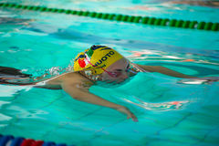 MILAN - DECEMBER 23: Ilaria Rosa (Italy) performing breaststr. Oke in Swimming Meeting Brema Cup on December 23, 2014 in Milan, Italy stock image